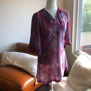Vintage paisley hippie 60s 70s mini dress